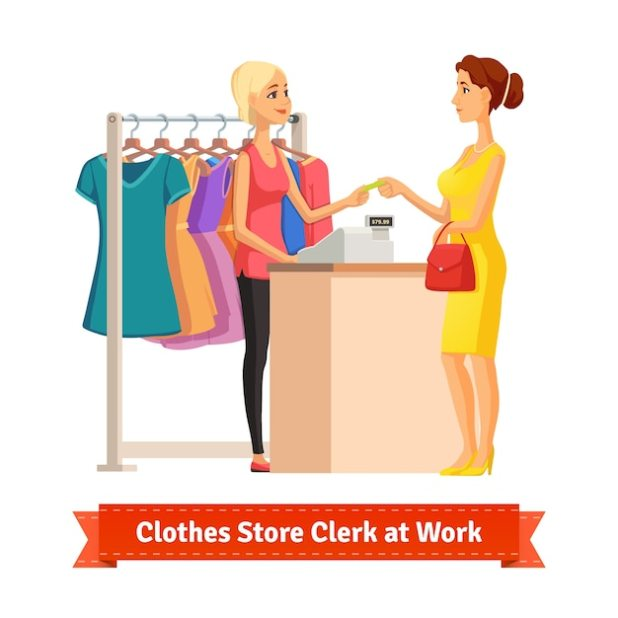 Clerk taking credit card payment from pretty woman Free Vector