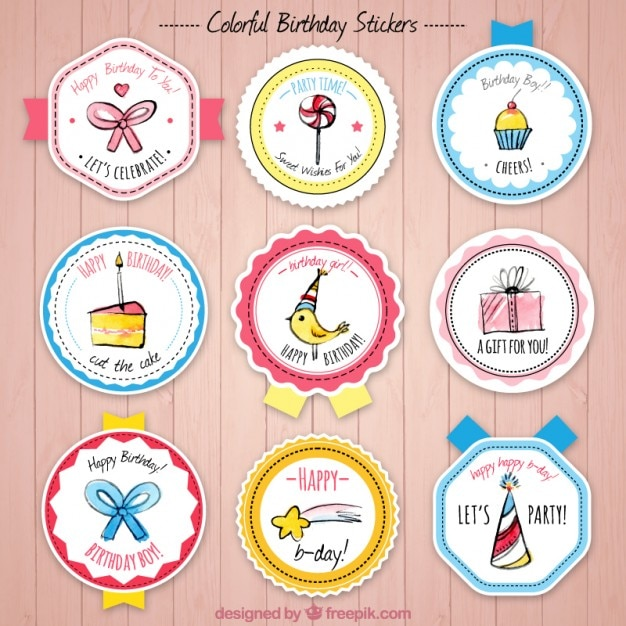 Collection Of Birthday Badge With Cute Drawings Vector