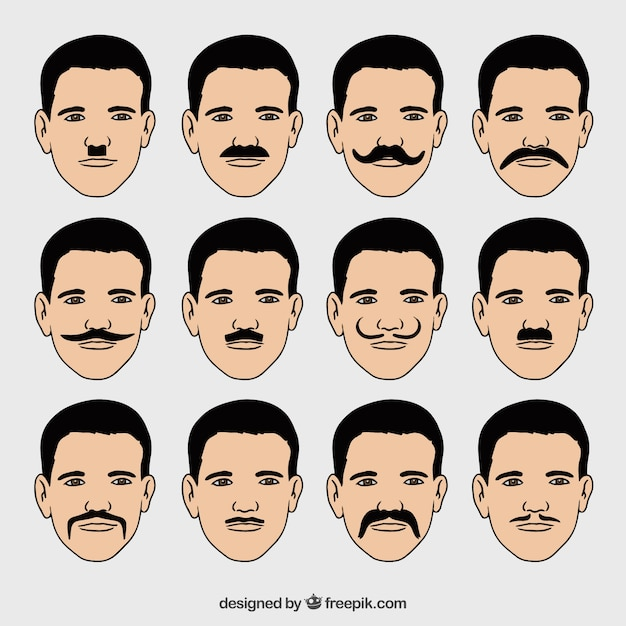 Collection Of Faces With Different Types Of Mustaches