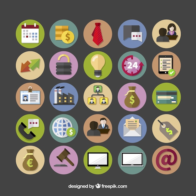 Colorful Business Icons Vector Free Download
