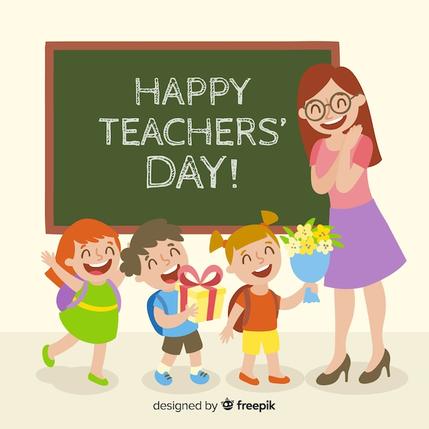 Free Vector Colorful World Teachers Day Composition With Flat Design