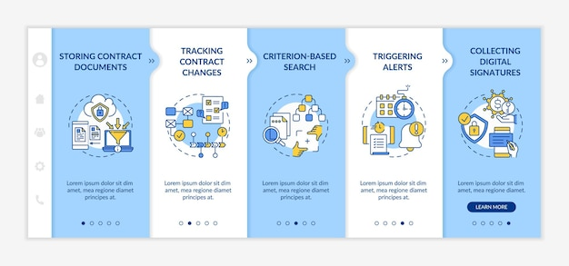Sales sales process | templates written by: Premium Vector Contract Management Software Functions Onboarding Template Storing Contract Documents Responsive Mobile Website With Icons Webpage Walkthrough Step Screens Rgb Color Concept