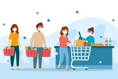Coronavirus and supermarket people concept Free Vector