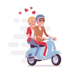Premium Vector | Couple in love on scooter