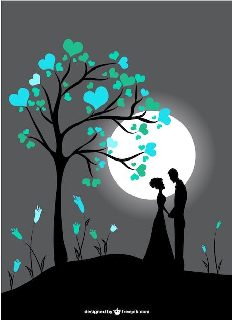 Download Couple silhouettes in moon light Vector | Free Download
