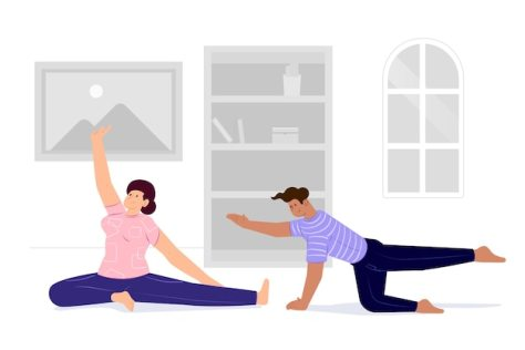 Free Vector | Couple training at home and doing sport