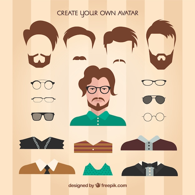 Create your own male avatar Vector Premium Download
