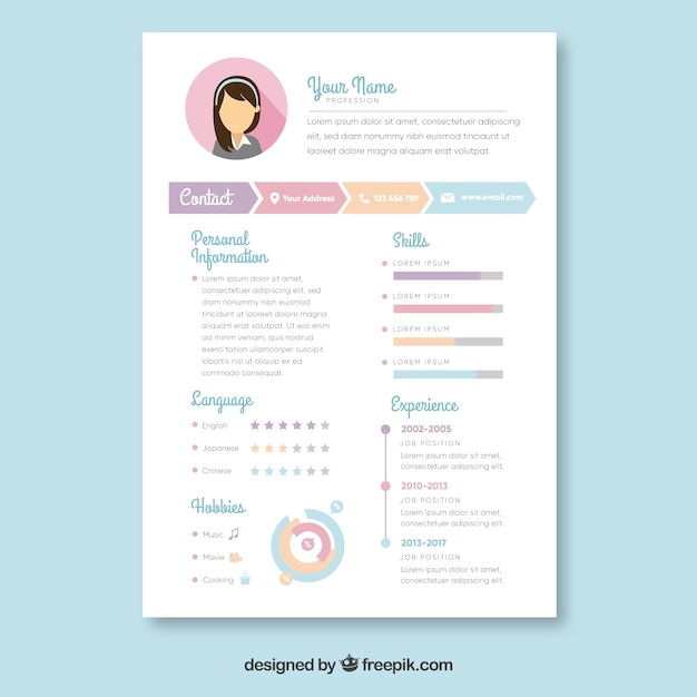 Curriculum template Free Vector