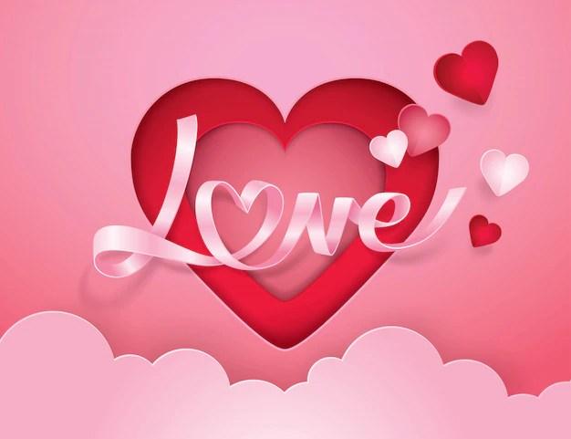 Download Cursive alphabet love and heart ribbon paper art Vector ...