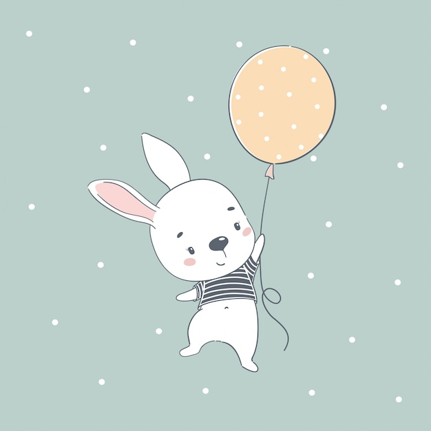 Premium Vector Cute Baby Bunny Cartoon Illustration