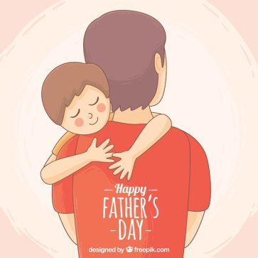 Cute background of son hugging his father Free Vector