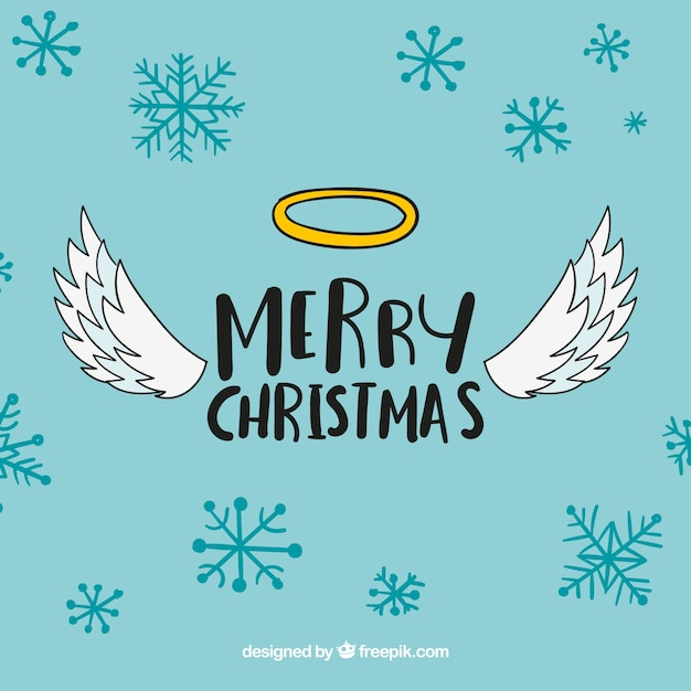 Cute Christmas Background With Angels Wings Vector Free