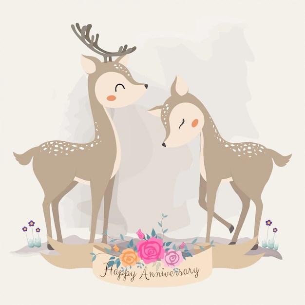 Download Cute deer in love. invitation card. Vector | Premium Download