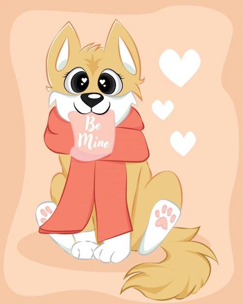 Download Cute doggy corgi be mine love character | Premium Vector