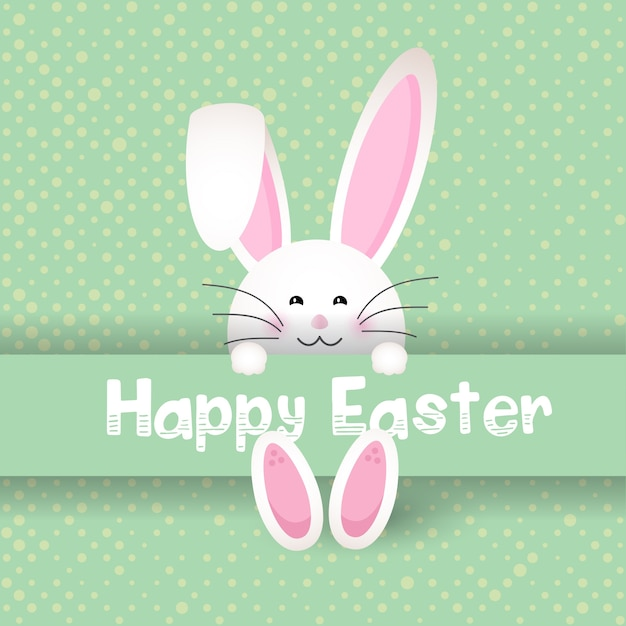 Free Vector Cute Easter Bunny On Polka Dot Background