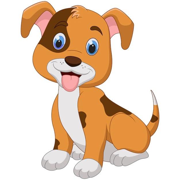 Premium Vector Cute Little Dog Cartoon Isolated On White