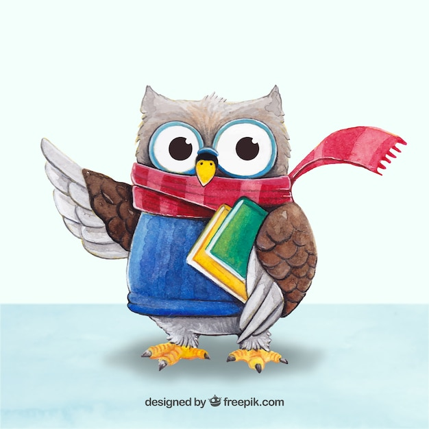 Image of: Whet Owl Demo 24 Freepik Cute Owl With Scarf And Books Vector Free Download