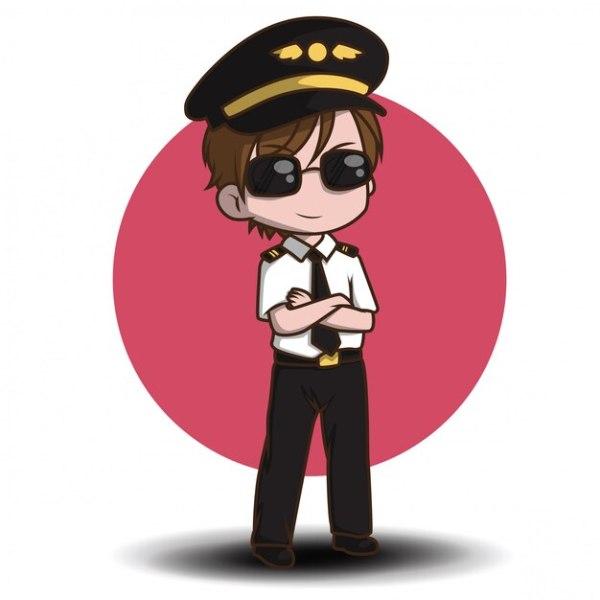 Cute pilot vector. cartoon characters | Premium Vector