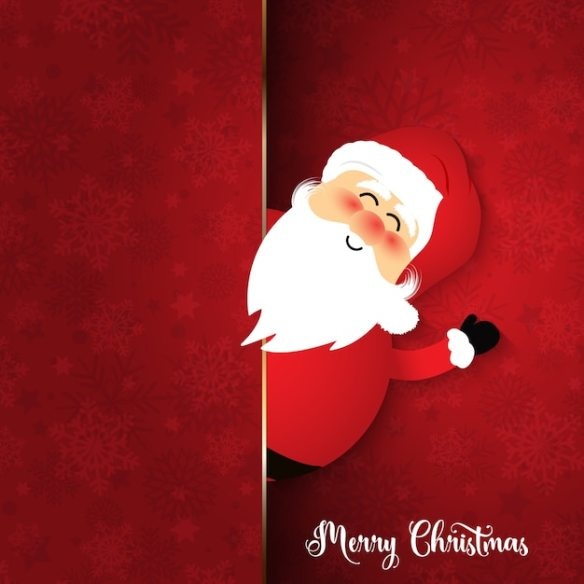 Cute Santa on snowflake background Free Vector