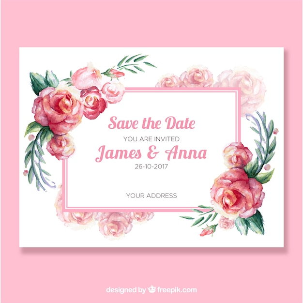 Cute Wedding Invitation With Daisies Free Vector