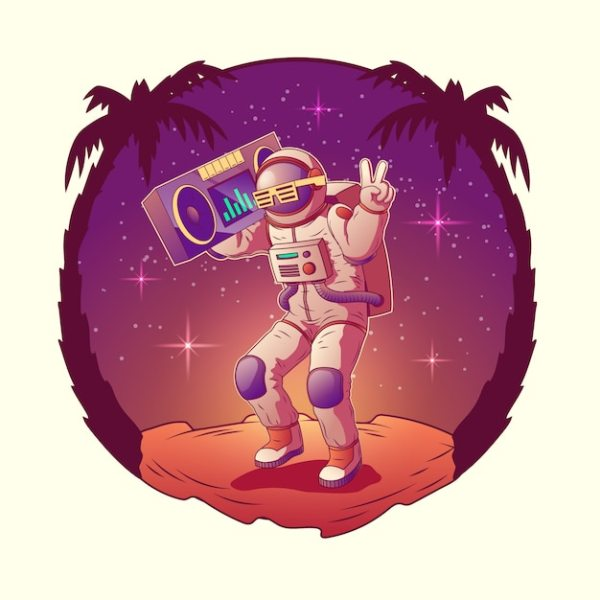 Dancing astronaut or spacemen character in space suit and