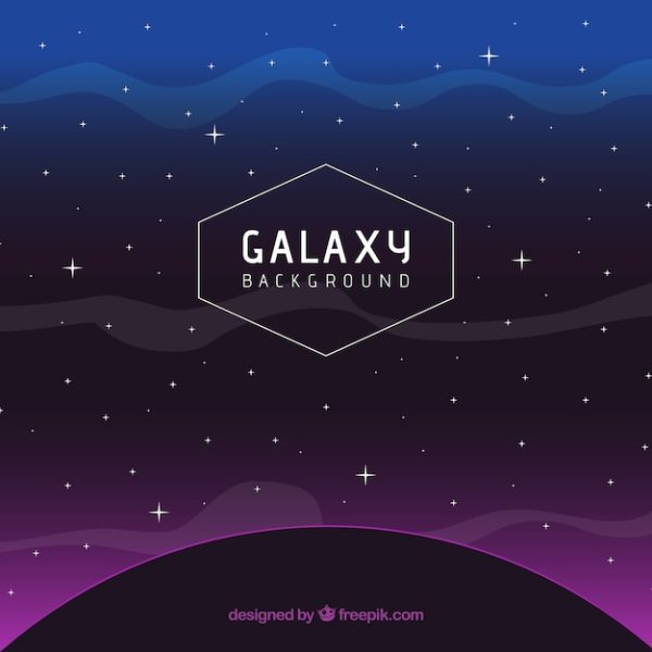 Dark planet background with purple light and stars Vector ...