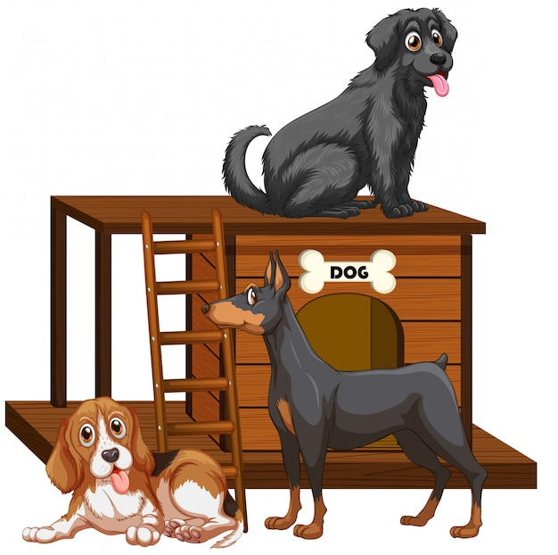 Free Vector Dog House With Cute Dogs