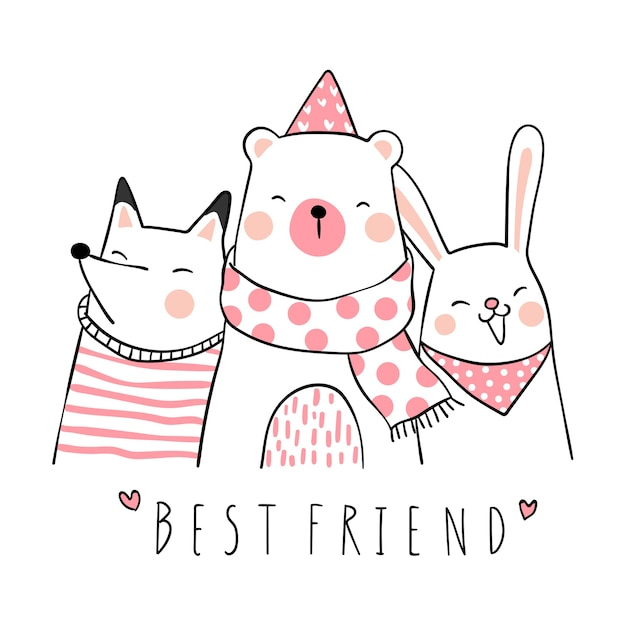 Premium Vector Draw Cute Animal With Word Best Friend