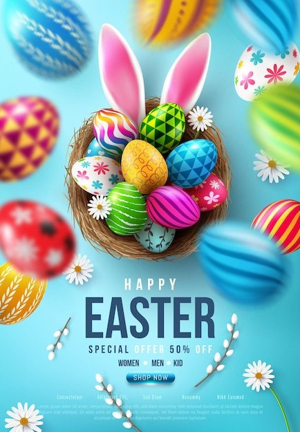 Easter banner template with easter eggs in the nest and rabbit ears on blue background. Premium Vector