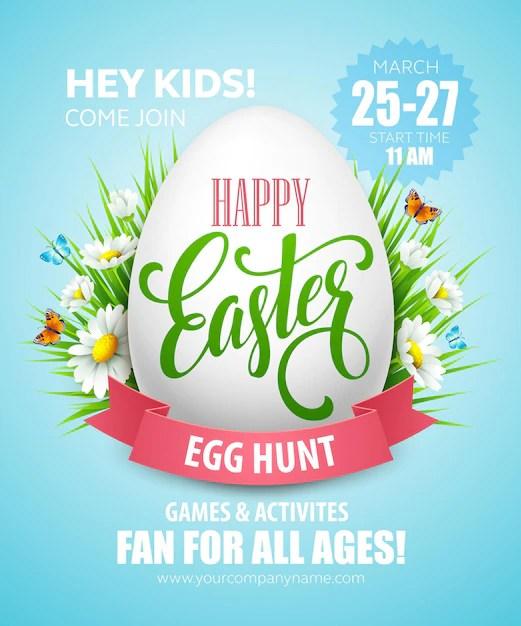 Easter egg hunt poster. Free Vector