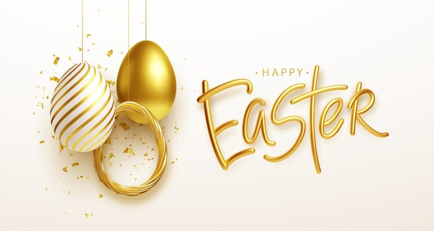 Easter greeting background with realistic golden, blue, white easter eggs. vector illustration eps10 Free Vector