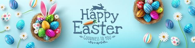 Easter poster and banner template with easter eggs in the nest Premium Vector