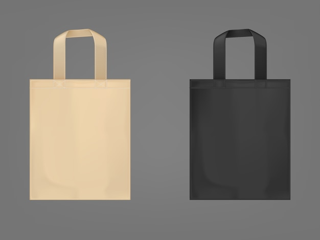 Use this eco bag beige shopping bag flat illustrati Free Vector Eco Tote Bags Set
