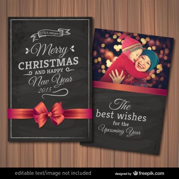 Editable Christmas Card With Photography Frame Vector