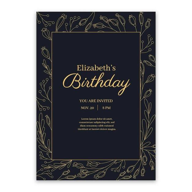 elegant birthday invitation template theme