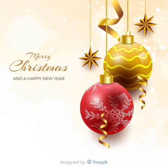 Elegant christmas background with realistic design Free Vector