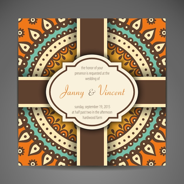 Elegant Indian Wedding Card Free Vector