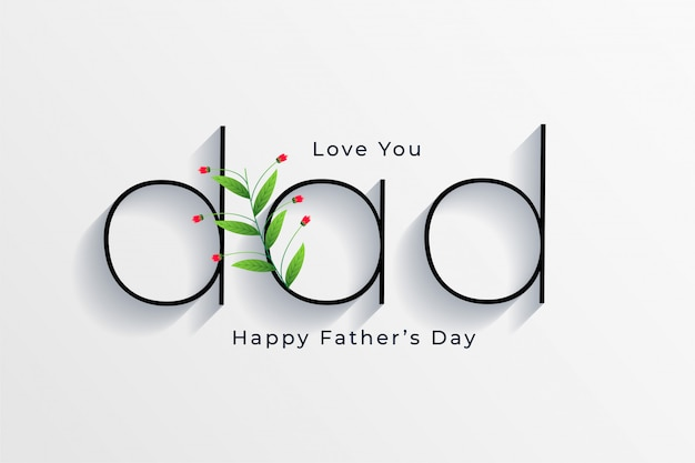 Elegant style happy fathers day greeting card design Premium Vector - Love You Dad