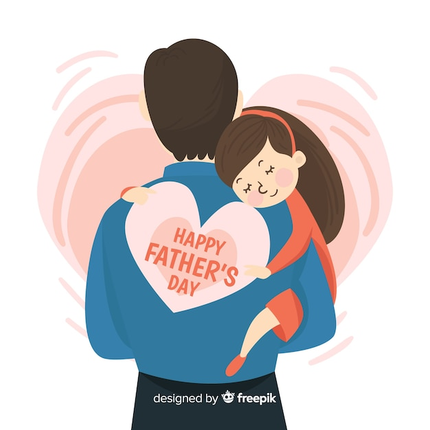Father's day Premium Vector - Daughter Carried by Father Carrying a Heart with the text Happy Father's Day