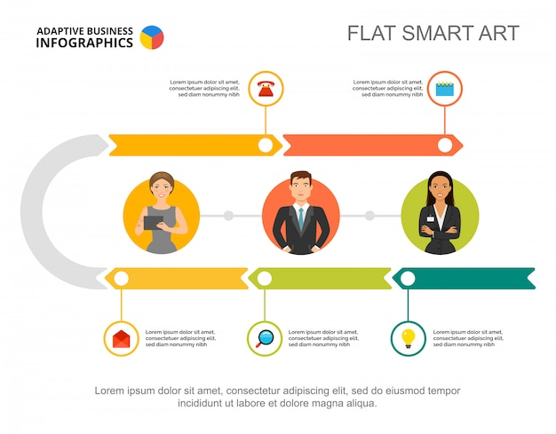This template is an infographic design of arrows rotating in a circle. Free Vector Five Steps Workflow Process Chart Template For Presentation