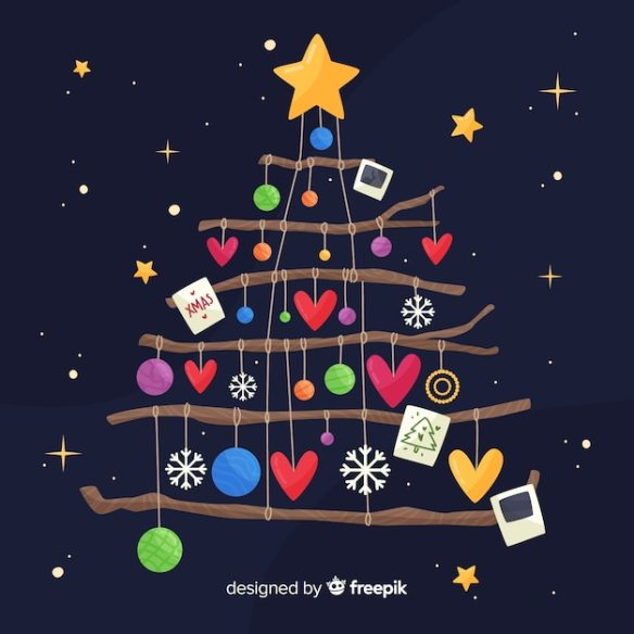 Flat christmas decoration Free Vector