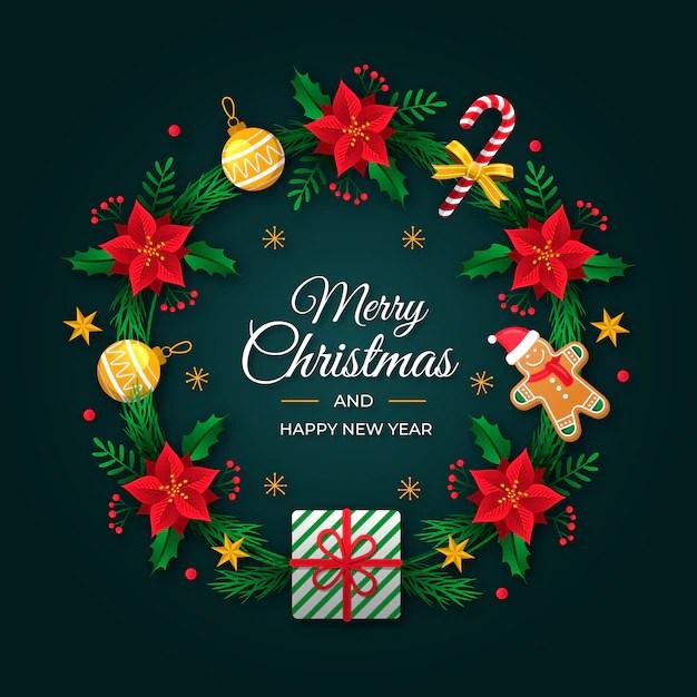 Christmas wreath Design Free Vector