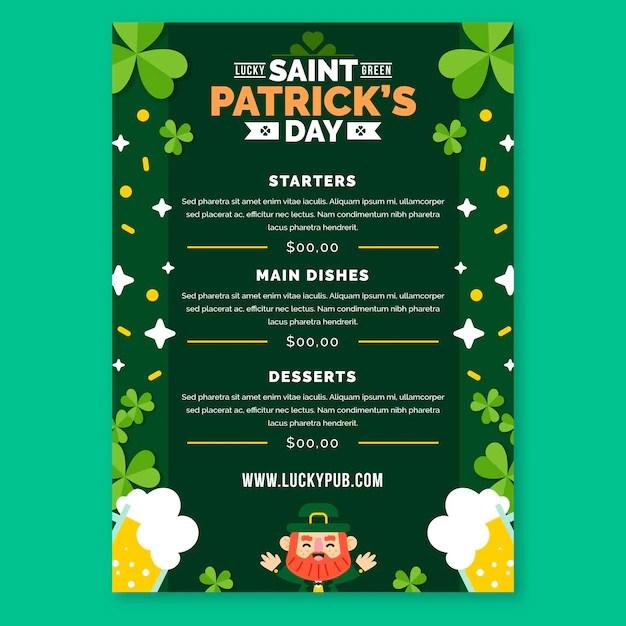 Flat design st. patrick's day menu template Free Vector