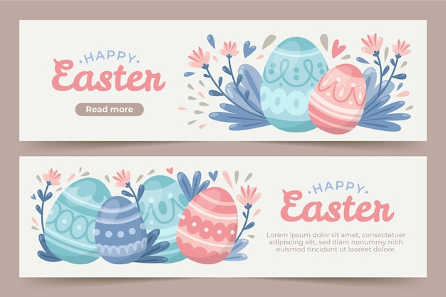 Flat easter banners Free Vector