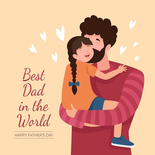 Best dad in the world father's day illustration Free Vector