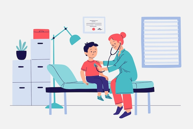 Flat-hand drawn patient taking a medical examination Free Vector