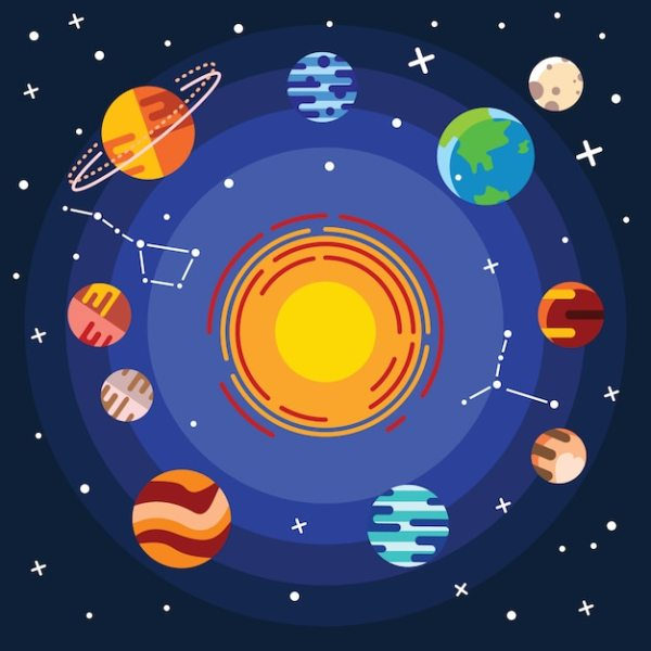 Flat icon set of solar system planets, sun and moon on ...