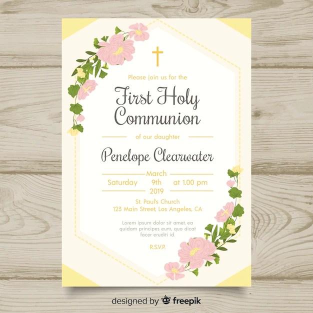 floral first communion invitation