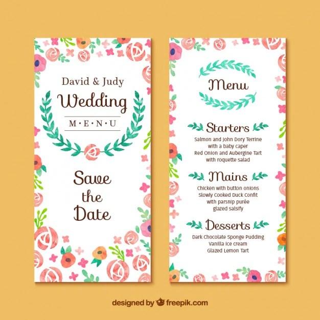 Fl Wedding Invitation Card Free Vector