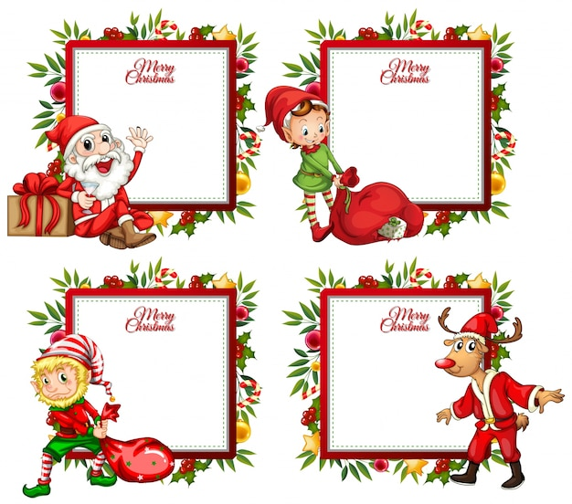 Four Border Template With Santa And Elf Vector Premium